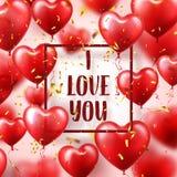 Walentynka dnia abstrakcjonistyczny tło z czerwienią 3d szybko się zwiększać i złoci confetti serce odizolowane kształtu white po ilustracja wektor