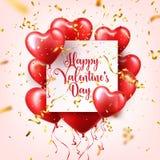 Walentynka dnia abstrakcjonistyczny tło z czerwienią 3d szybko się zwiększać i złoci confetti serce odizolowane kształtu white po royalty ilustracja