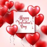 Walentynka dnia abstrakcjonistyczny tło z czerwienią 3d szybko się zwiększać serce odizolowane kształtu white pomidorowego Luty 1 royalty ilustracja