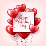 Walentynka dnia abstrakcjonistyczny tło z czerwienią 3d szybko się zwiększać serce odizolowane kształtu white pomidorowego Luty 1 ilustracji