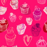 Walentynka dnia babeczek bezszwowy wzór Zdjęcia Stock