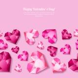 Walentynka dnia bezszwowy tło z 3d stylizującymi różowymi kierowymi diamentami, klejnoty, klejnoty Obrazy Stock