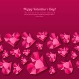 Walentynka dnia bezszwowy tło z 3d stylizującymi różowymi kierowymi diamentami, klejnoty, klejnoty Zdjęcie Royalty Free