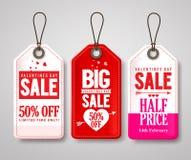Walentynka dnia cena sprzedaży oznacza wektorowego ustawiającego z przyrodnią ceną i przylepia etykietkę Fotografia Stock