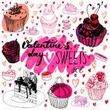 Walentynka dnia cukierki ustawiający Obrazy Stock