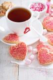 Walentynka dnia cukrowi ciastka z kropią zdjęcie stock