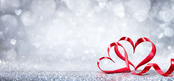 Walentynka dnia dekoracja - faborków Kształtni serca Zdjęcie Stock