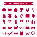 Walentynka dnia ikony sylwetki ustalony styl Miłość, romans, ślubni inkasowi znaki, symbole, odizolowywający na białym tle Zdjęcia Stock