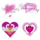 Walentynka dnia karta ustawiająca z sercami Fotografia Royalty Free
