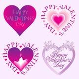 Walentynka dnia karta ustawiająca z sercami Zdjęcia Stock
