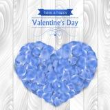 Walentynka dnia karta z błękit róży płatkami Zdjęcie Stock