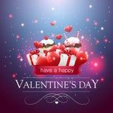 Walentynka dnia karta z babeczkami i teraźniejszość Zdjęcia Royalty Free