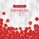 Walentynka dnia karta z czerwieni róży płatkami Obrazy Stock