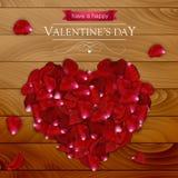 Walentynka dnia karta z czerwieni róży tłuczkami kształtował jak serce Fotografia Royalty Free