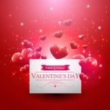 Walentynka dnia karta z czerwonymi spławowymi sercami Fotografia Royalty Free
