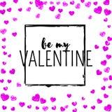 Walentynka dnia karta z menchii błyskotliwości sercami Luty 14th Wektorowi confetti dla valentines dnia karty szablonu grunge Fotografia Stock