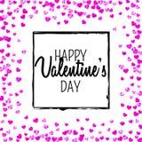 Walentynka dnia karta z menchii błyskotliwości sercami Luty 14th Wektorowi confetti dla valentines dnia karty szablonu grunge Obraz Stock