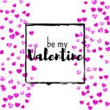 Walentynka dnia karta z menchii błyskotliwości sercami Luty 14th Wektorowi confetti dla valentines dnia karty szablonu grunge Zdjęcia Royalty Free