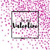 Walentynka dnia karta z menchii błyskotliwości sercami Luty 14th Wektorowi confetti dla valentines dnia karty szablonu grunge Obraz Royalty Free
