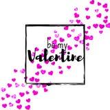 Walentynka dnia karta z menchii błyskotliwości sercami Luty 14th Wektorowi confetti dla valentines dnia karty szablonu grunge Zdjęcia Stock