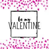 Walentynka dnia karta z menchii błyskotliwości sercami Luty 14th Wektorowi confetti dla valentines dnia karty szablonu grunge Fotografia Royalty Free