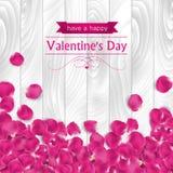 Walentynka dnia karta z menchii róży płatkami Fotografia Royalty Free