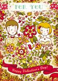 Walentynka dnia karta z miłością 2 ilustracji