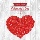 Walentynka dnia karta z różanymi płatkami w kształtnym serce Fotografia Stock