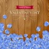 Walentynka dnia karta z róży błękita płatkiem Zdjęcie Royalty Free