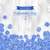 Walentynka dnia karta z róży błękita płatkiem Zdjęcia Royalty Free