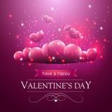 Walentynka dnia karta z spławowymi purpurowymi sercami Zdjęcia Royalty Free