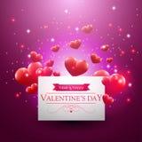 Walentynka dnia karta z spławowymi sercami Obrazy Stock