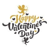 Walentynka dnia karta z wizerunkiem amorek sylwetka Szczęśliwy walentynka dnia literowanie 14th Luty kartka z pozdrowieniami Obraz Stock