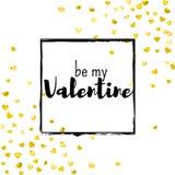 Walentynka dnia karta z złocistymi błyskotliwość sercami Luty 14th Wektorowi confetti dla valentines dnia karty szablonu grunge Zdjęcie Royalty Free
