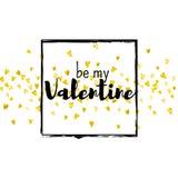 Walentynka dnia karta z złocistymi błyskotliwość sercami Luty 14th Wektorowi confetti dla valentines dnia karty szablonu grunge Zdjęcie Stock