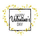 Walentynka dnia karta z złocistymi błyskotliwość sercami Luty 14th Wektorowi confetti dla valentines dnia karty szablonu grunge Obrazy Royalty Free