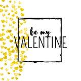 Walentynka dnia karta z złocistymi błyskotliwość sercami Luty 14th Wektorowi confetti dla valentines dnia karty szablonu grunge Zdjęcia Stock
