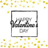 Walentynka dnia karta z złocistymi błyskotliwość sercami Luty 14th Wektorowi confetti dla valentines dnia karty szablonu grunge Fotografia Stock