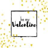 Walentynka dnia karta z złocistymi błyskotliwość sercami Luty 14th Wektorowi confetti dla valentines dnia karty szablonu grunge Obraz Stock