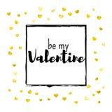 Walentynka dnia karta z złocistymi błyskotliwość sercami Luty 14th Wektorowi confetti dla valentines dnia karty szablonu grunge Fotografia Royalty Free