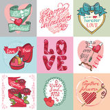 Walentynka dnia karty set Obraz Royalty Free