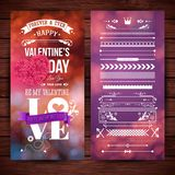 Walentynka dnia karty szablon Typograficzny tekst, różnorodny literowanie projektów elementy ustawiają fotografia stock