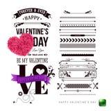 Walentynka dnia karty szablon z retro dotykiem i dodatkowy set projektów elementy fotografia royalty free