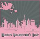 Walentynka dnia karty sztuki Nowy Jork linia horyzontu amorek ilustracji