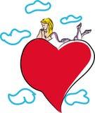 Walentynka dnia kobieta z kierowym ballon Obrazy Royalty Free