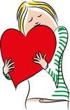 Walentynka dnia kobieta z kierowym ballon Obrazy Stock