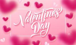 Walentynka dnia literowania valentine i teksta serc wzór na różowym tle Wektorowy Szczęśliwy walentynka dnia kartka z pozdrowieni Obrazy Royalty Free
