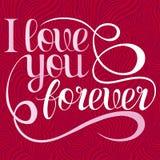 Walentynka dnia literowanie - kocham ciebie na zawsze, projektów elementy dla kart Rewolucjonistka, Różowy tło Z ornamentami, ser Fotografia Stock
