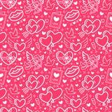 Walentynka dnia menchii Bezszwowy wzór Miłość, romansowe mieszkanie linii ikony - serca, czekolada, buziak, amorek, gołąbki, vale Fotografia Stock