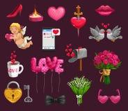 Walentynka dnia miłości romantyczni prezenty, serca, amorek ilustracji